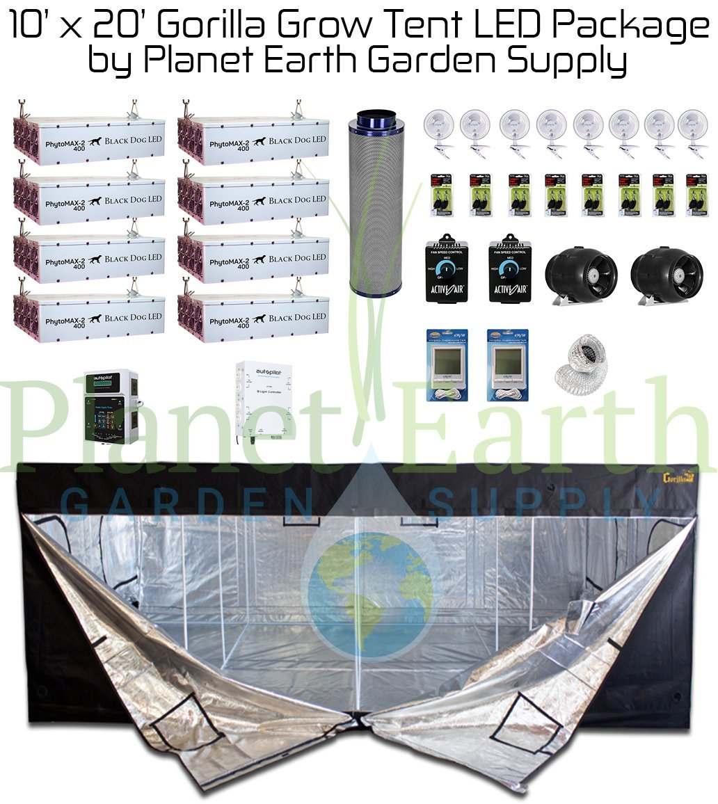 10' x 20' Gorilla Grow Tent Kit BLACK DOG PhytoMax-2 800 LED Package